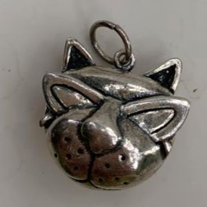 Cat Head Sterling Silver Jewelry Charm